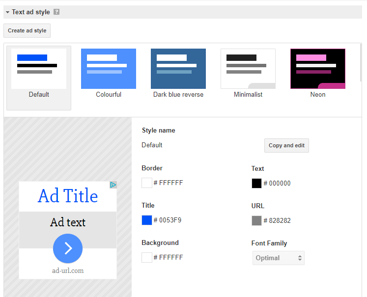 AdSense: Check the style of an ad unit to match your site theme