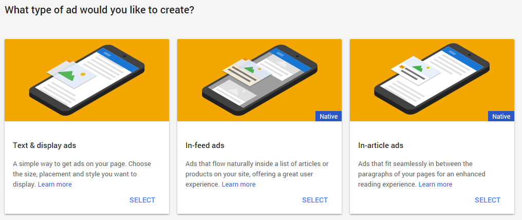 AdSense: What type of ad would you like to create?