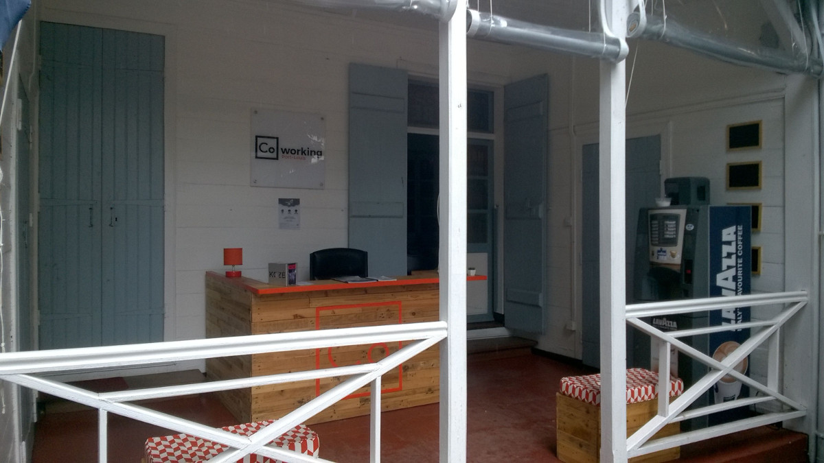 Reception area at CoWorking Port Louis