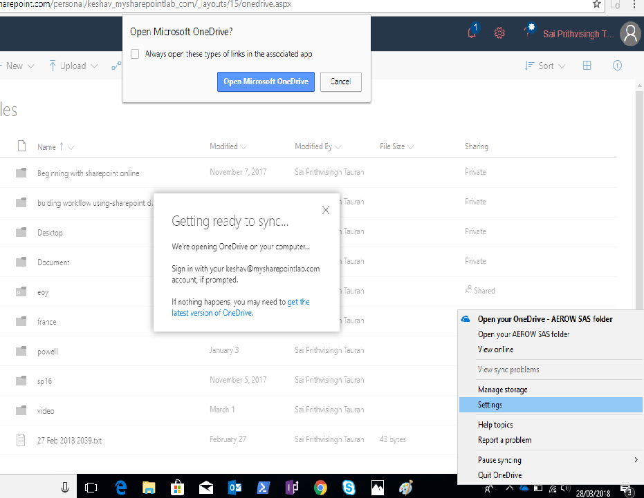Choose Settings from the context menu of OneDrive